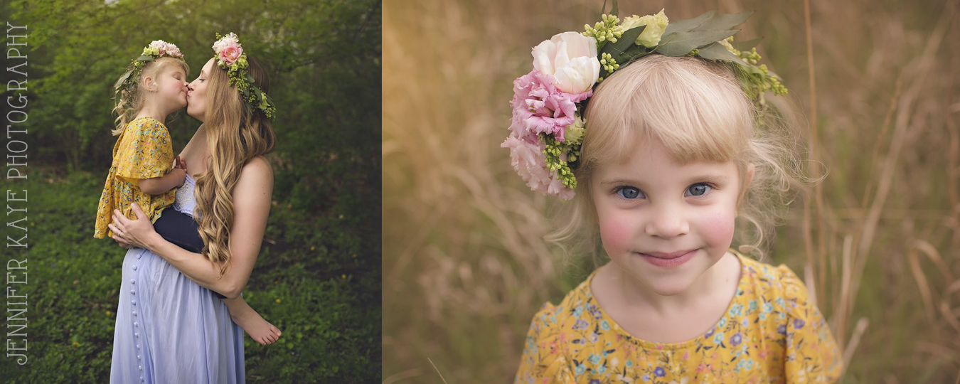 Mommy & Daughter Maternity Shoot with Floral Crowns | Geneva Event Florist